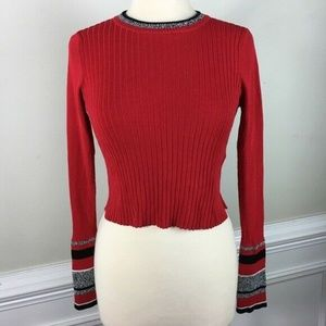 Topshop Striped Cuff Ribbed Cropped Sweater